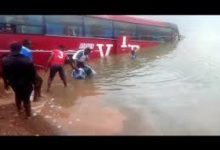 Photo of VIP bus plunges into River Oti at Dambai crossing