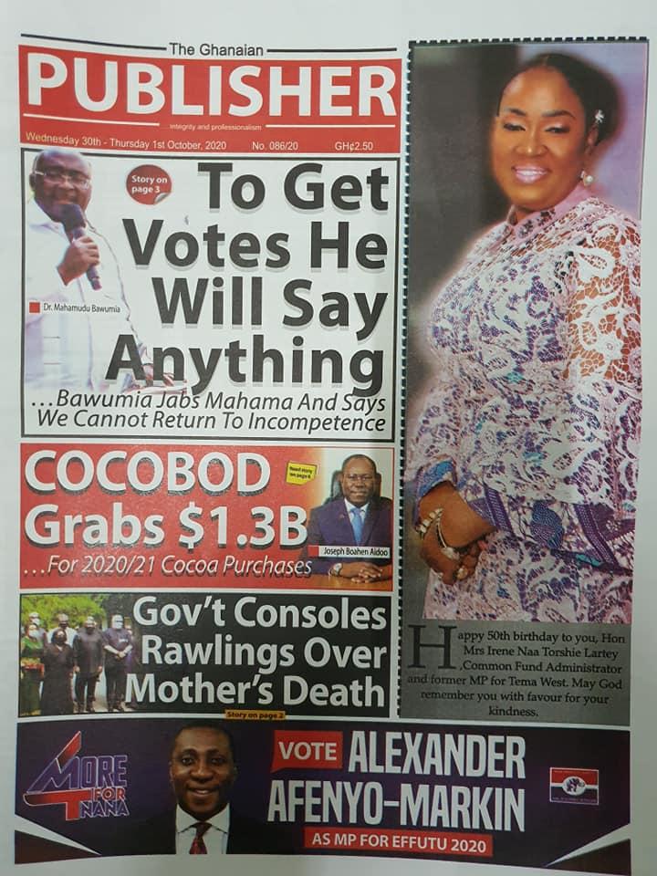 Newspaper headlines of Wednesday, September 30, 2020 103