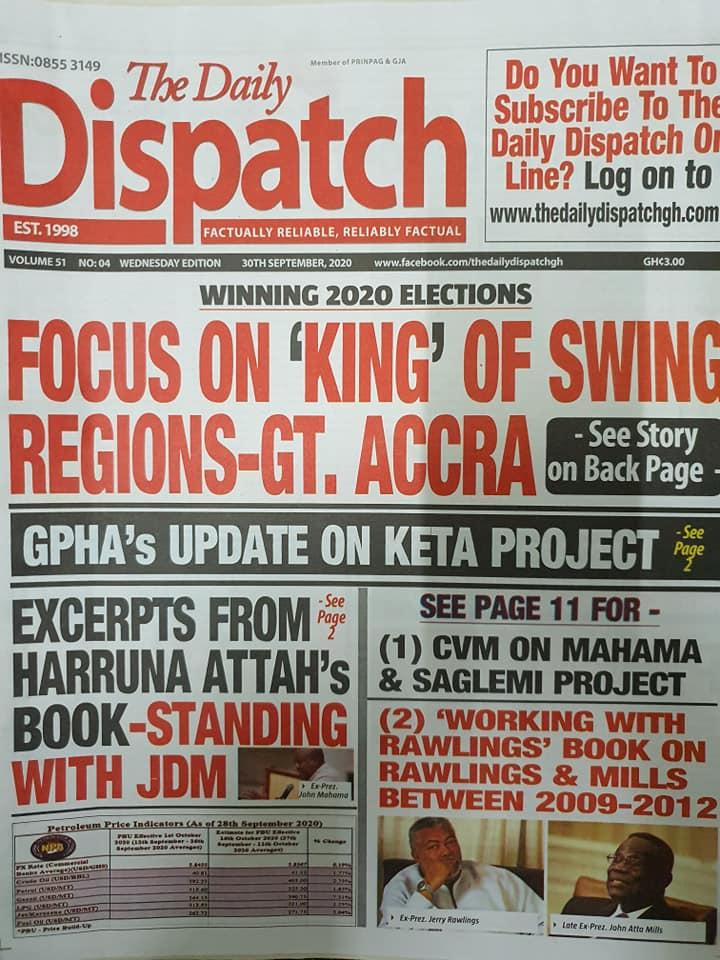 Newspaper headlines of Wednesday, September 30, 2020 105
