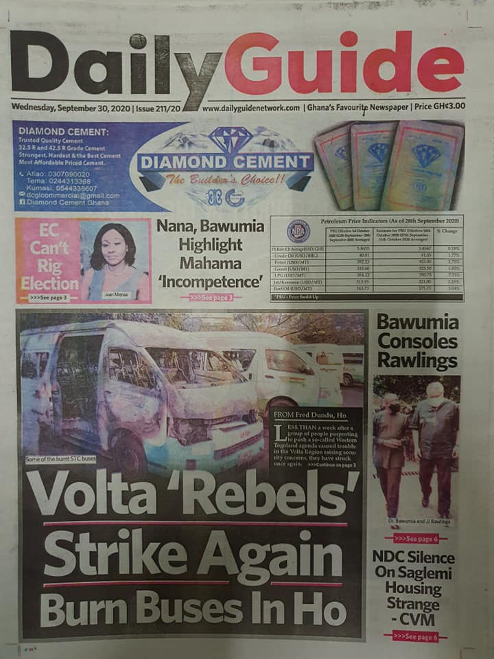 Newspaper headlines of Wednesday, September 30, 2020 92