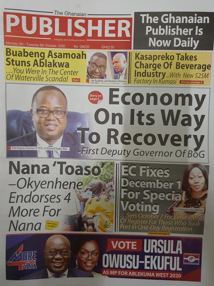 Newspaper headlines of Monday, October 5, 2020 105
