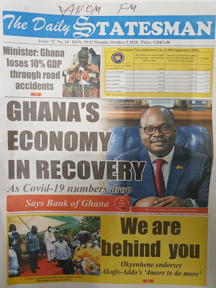 Newspaper headlines of Monday, October 5, 2020 111