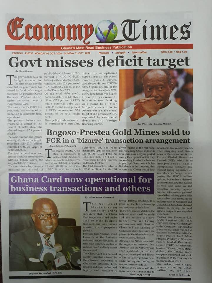 Newspaper headlines of Monday, October 5, 2020 94