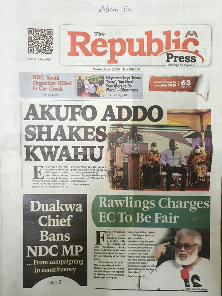 Newspaper headlines of Monday, October 5, 2020 93