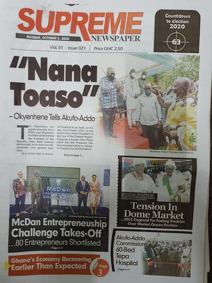 Newspaper headlines of Monday, October 5, 2020 106