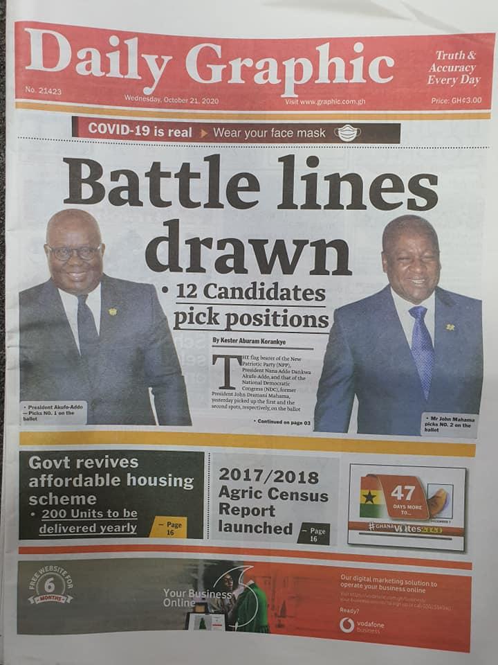 Newspaper headlines of Wednesday, October 21, 2020 66