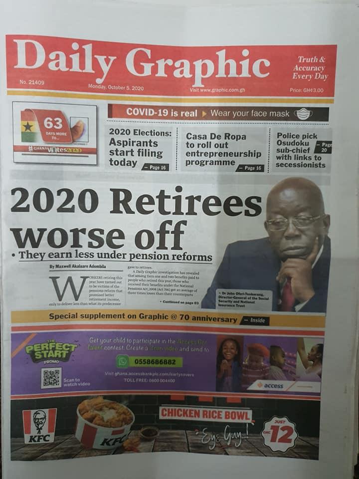 Newspaper headlines of Monday, October 5, 2020 96