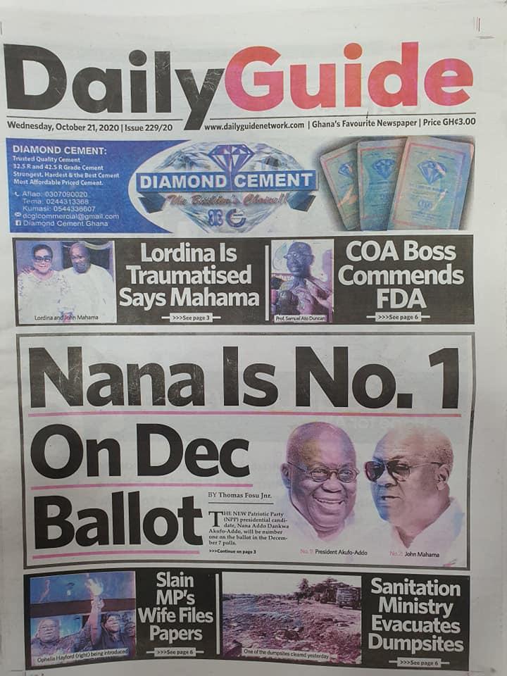 Newspaper headlines of Wednesday, October 21, 2020 68