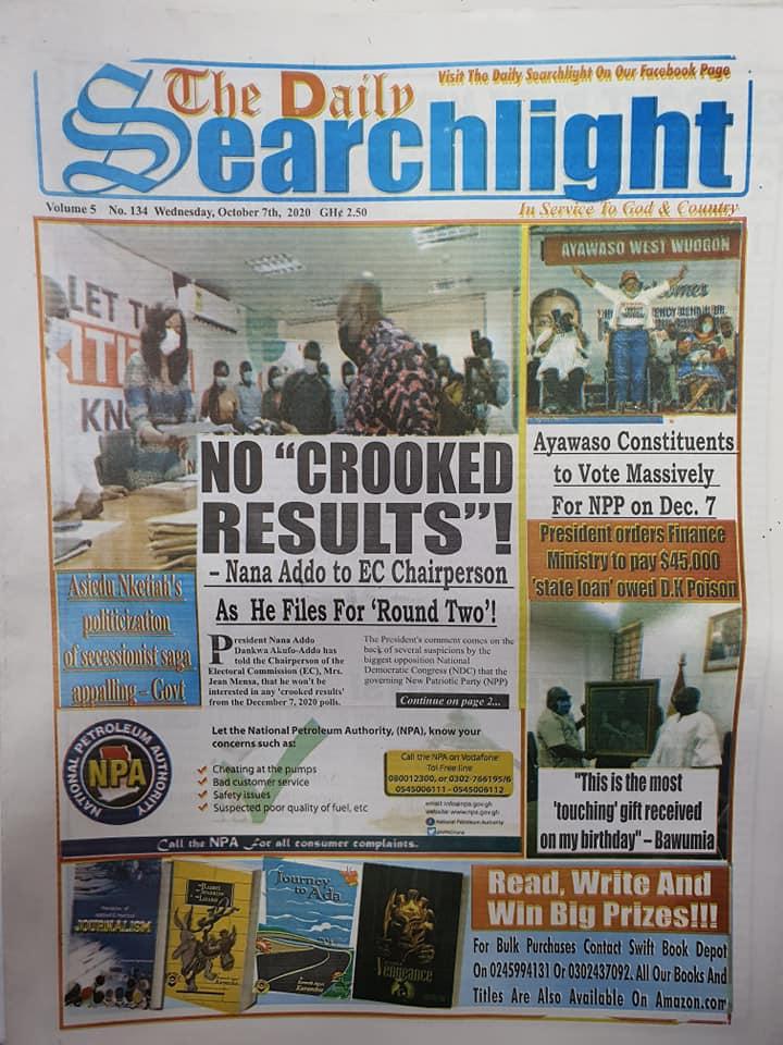 Newspaper headlines of Wednesday, October 7, 2020 71