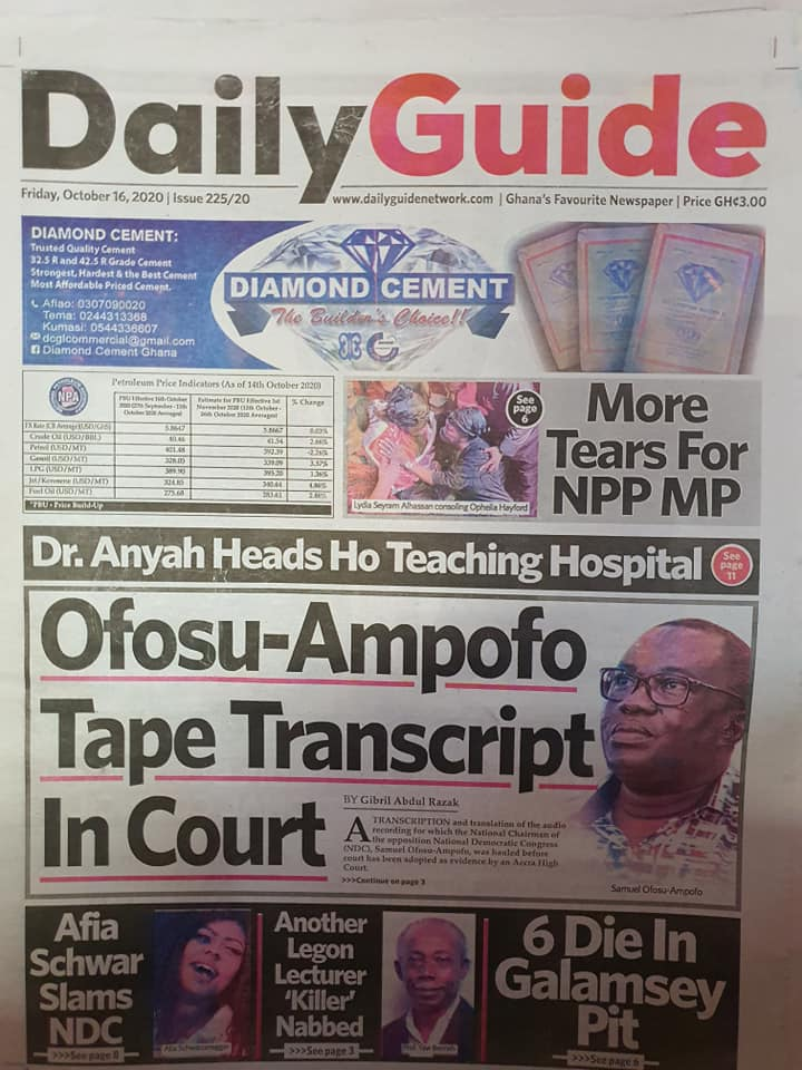 Newspaper headlines of Friday, October 16, 2020 94