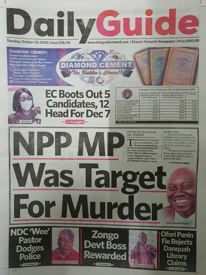 Newspaper headlines of Tuesday, October 20, 2020 37