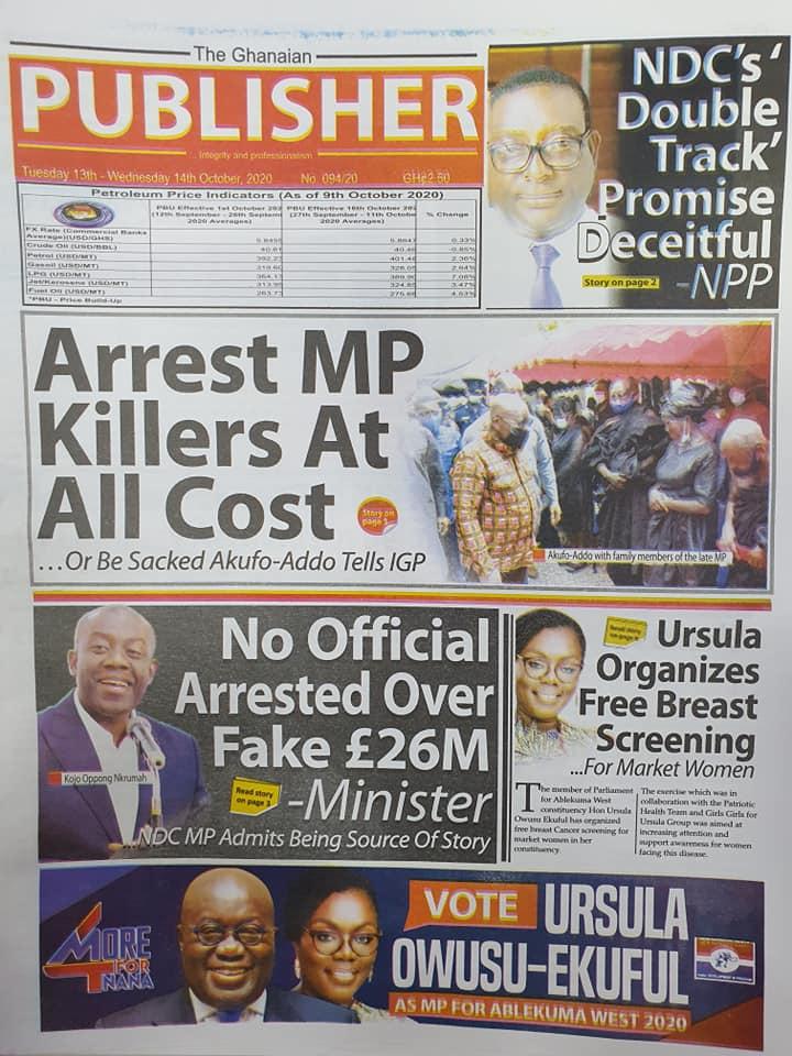 Newspaper headlines of Thursday, October 13, 2020 52