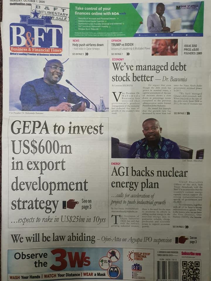 Newspaper headlines of Thursday, October 1, 2020. 58