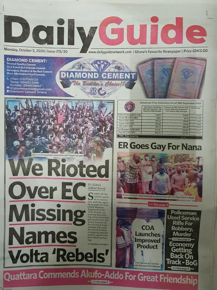 Newspaper headlines of Monday, October 5, 2020 102