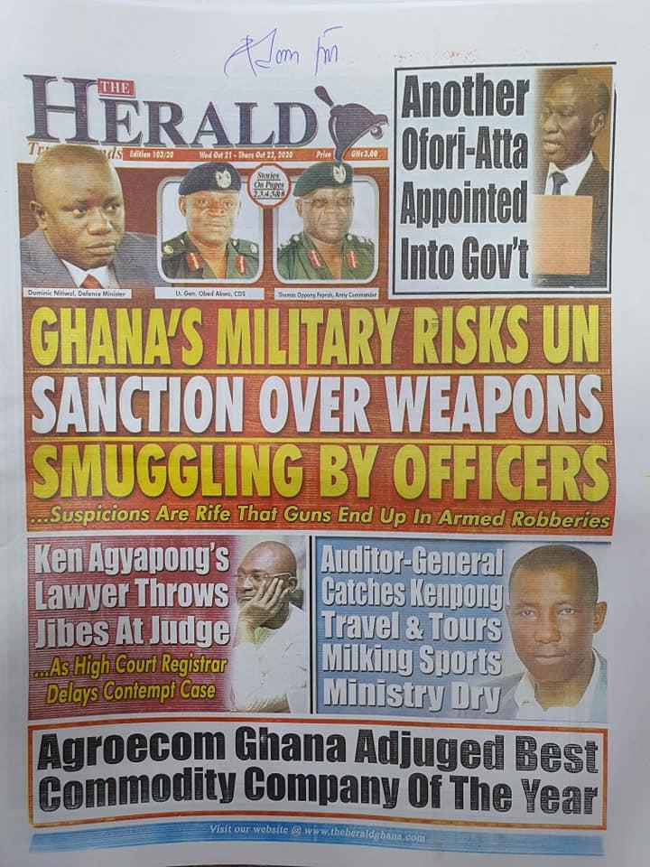 Newspaper headlines of Wednesday, October 21, 2020 50