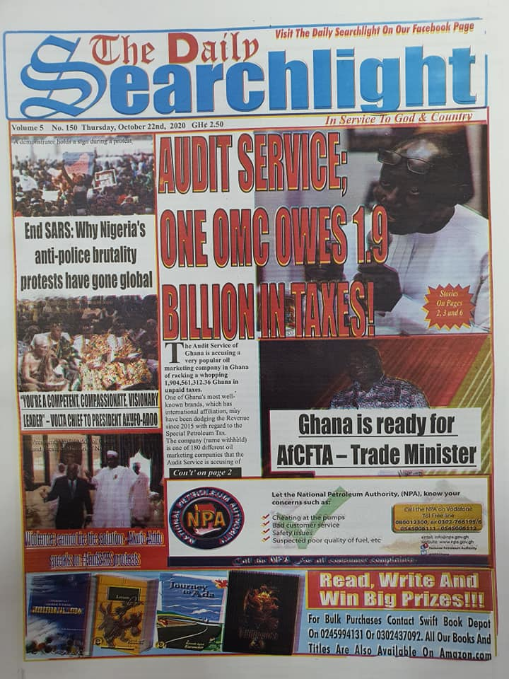 Newspaper headlines of Thursday, October 22, 2020 45
