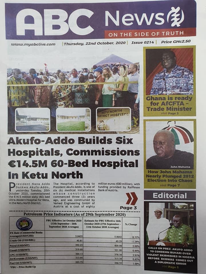 Newspaper headlines of Thursday, October 22, 2020 43