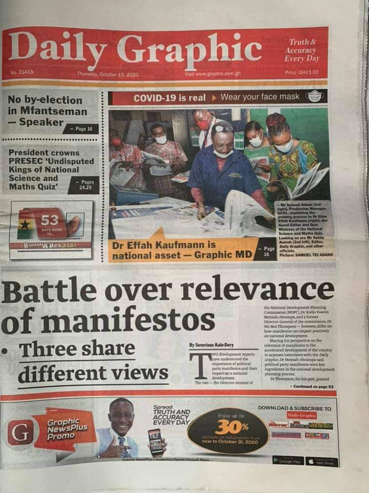 Newspaper headlines of Thursday, October 15, 2020 31