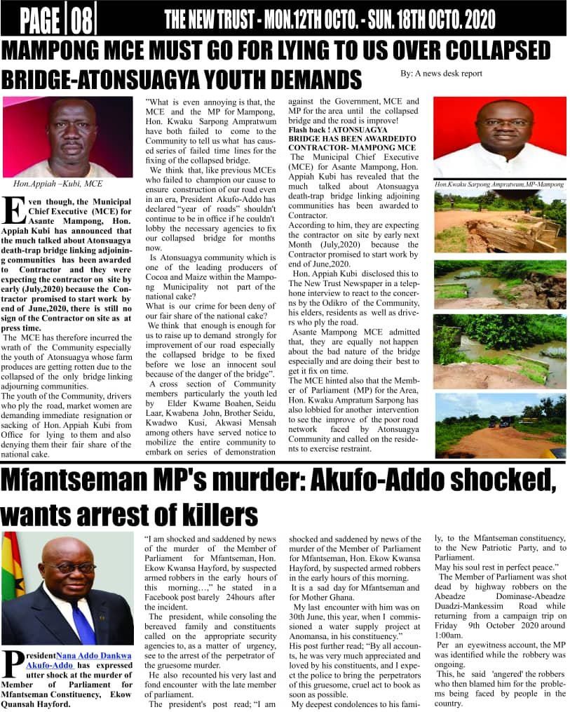 Newspaper headlines of Monday, October 12, 2020 12
