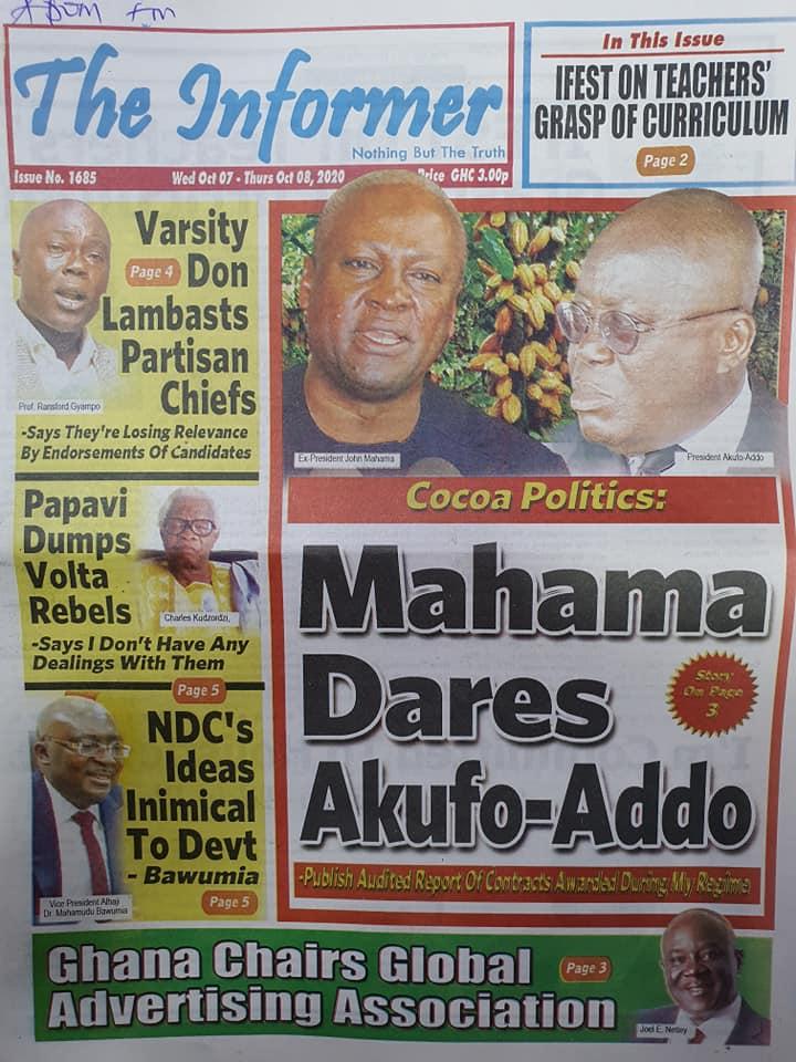 Newspaper headlines of Wednesday, October 7, 2020 65