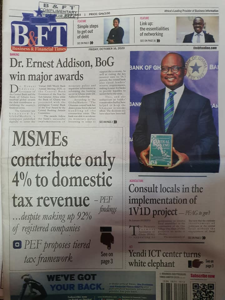 Newspaper headlines of Friday, October 16, 2020 82