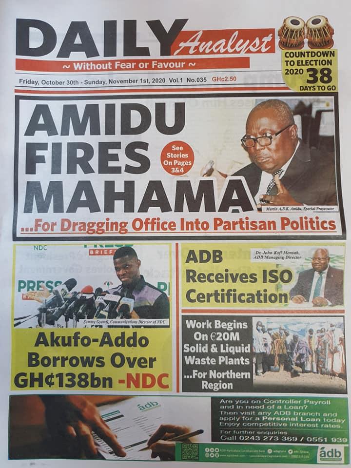 Newspaper headlines of Friday, October 30, 2020 59