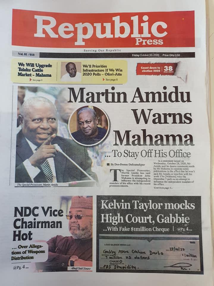 Newspaper headlines of Friday, October 30, 2020 63