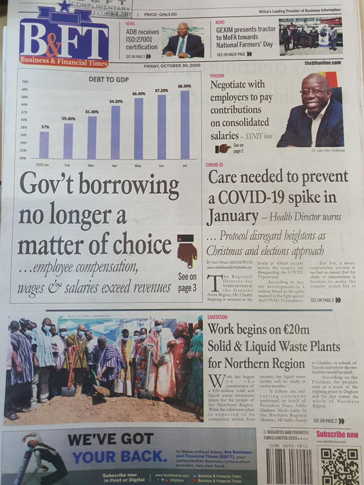 Newspaper headlines of Friday, October 30, 2020 43
