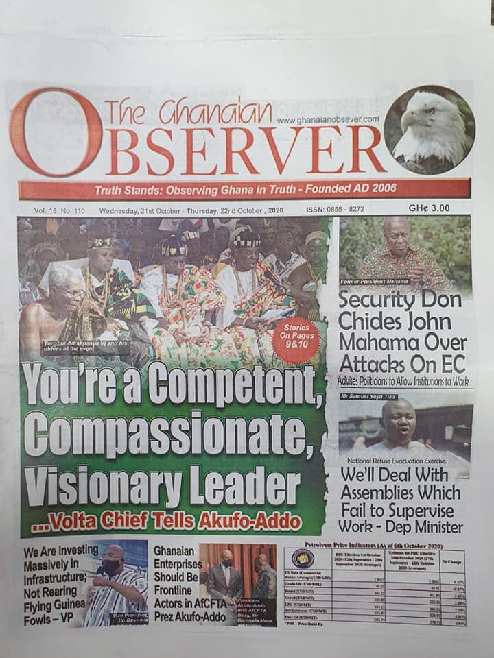 Newspaper headlines of Wednesday, October 21, 2020 55