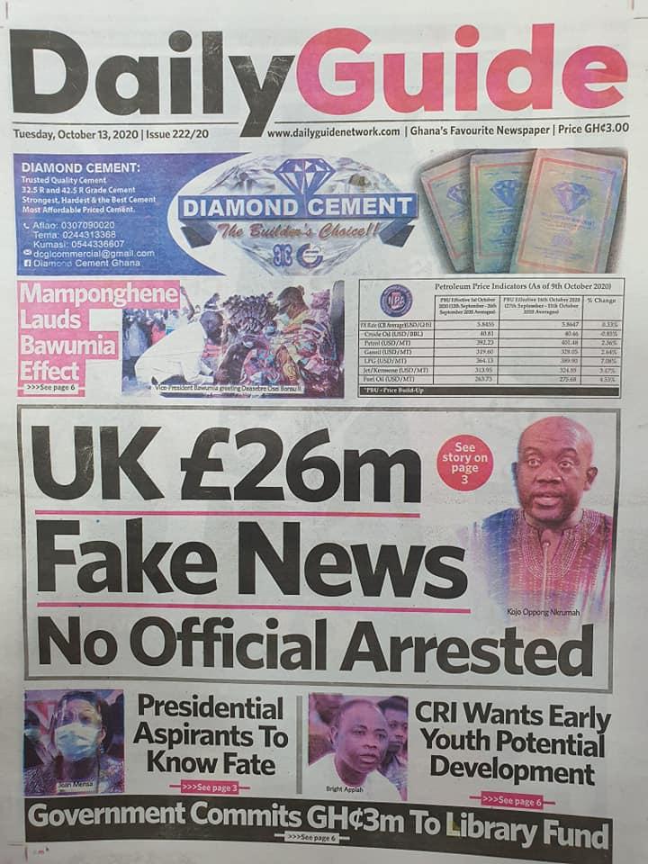 Newspaper headlines of Thursday, October 13, 2020 53
