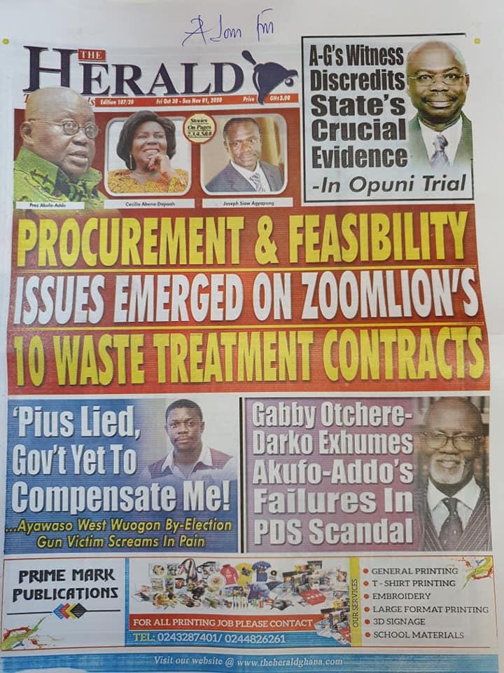 Newspaper headlines of Friday, October 30, 2020 60