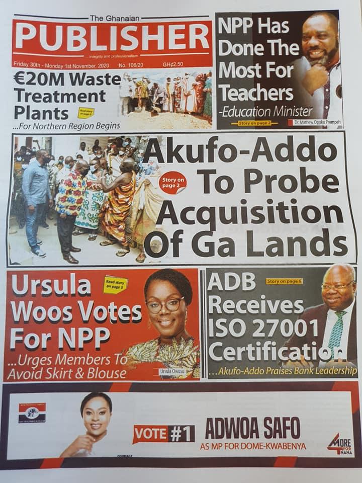 Newspaper headlines of Friday, October 30, 2020 57