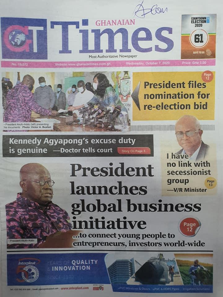 Newspaper headlines of Wednesday, October 7, 2020 60