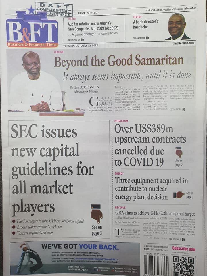 Newspaper headlines of Thursday, October 13, 2020 55