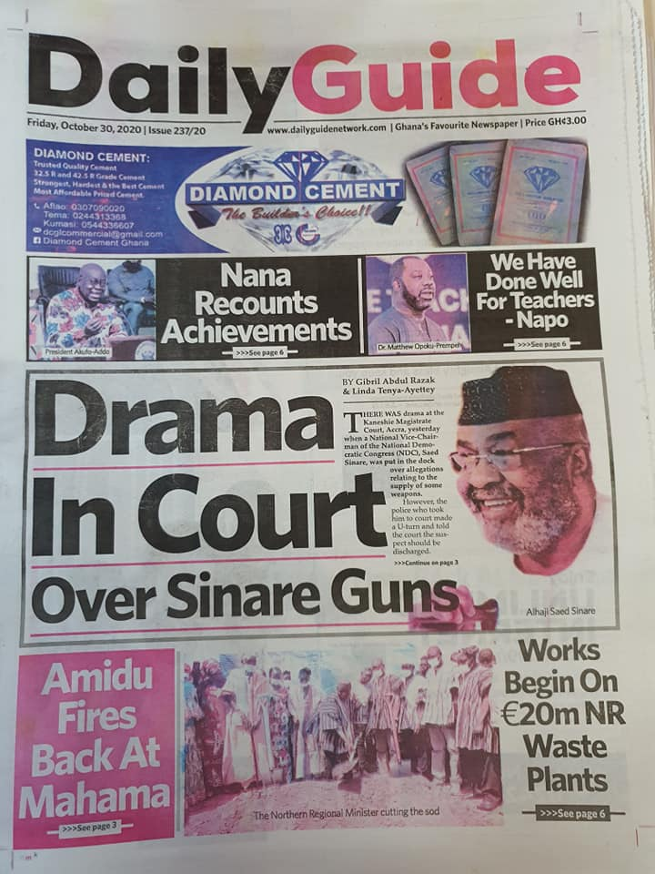 Newspaper headlines of Friday, October 30, 2020 61