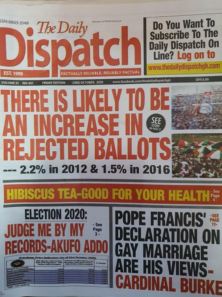 Newspaper headlines of Friday, October 23, 2020 43