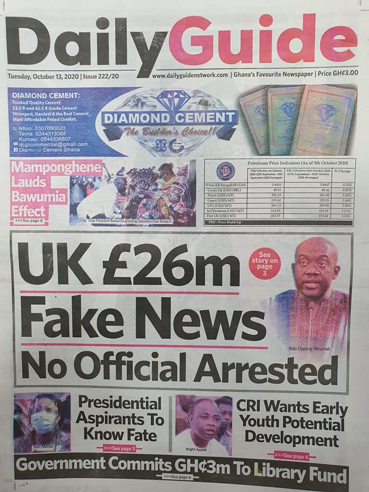 Newspaper headlines of Thursday, October 13, 2020 57