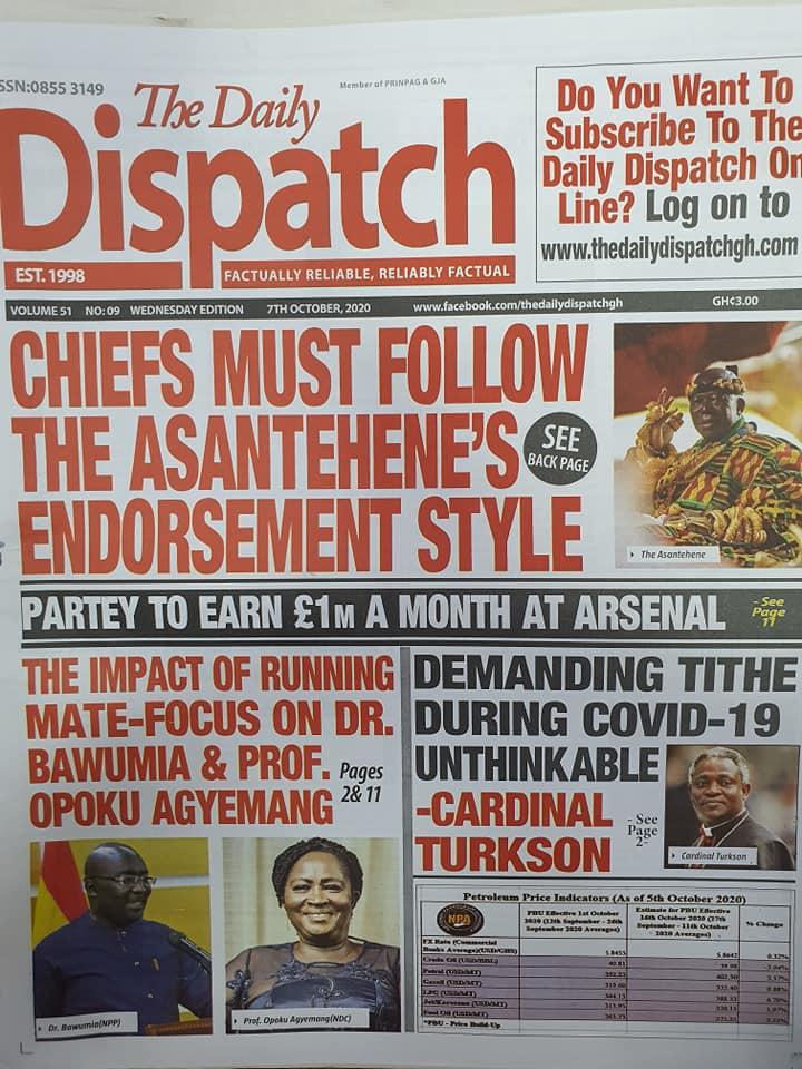 Newspaper headlines of Wednesday, October 7, 2020 56