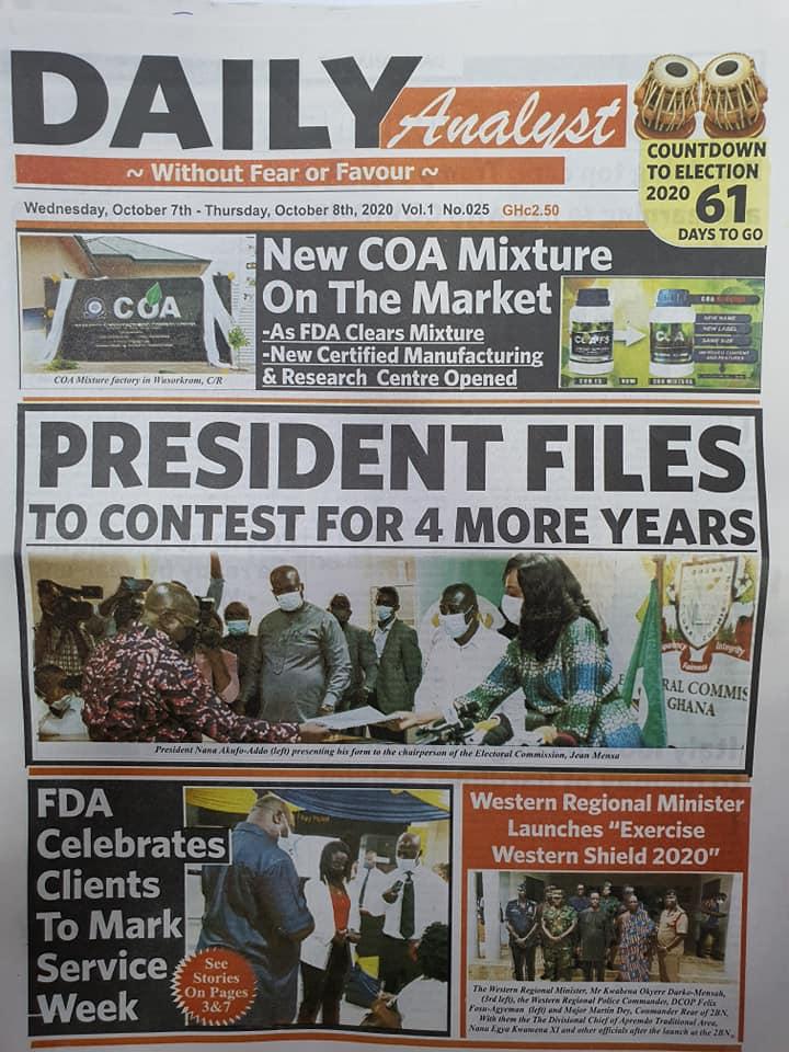 Newspaper headlines of Wednesday, October 7, 2020 52