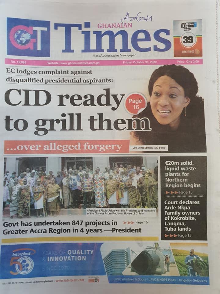 Newspaper headlines of Friday, October 30, 2020 62
