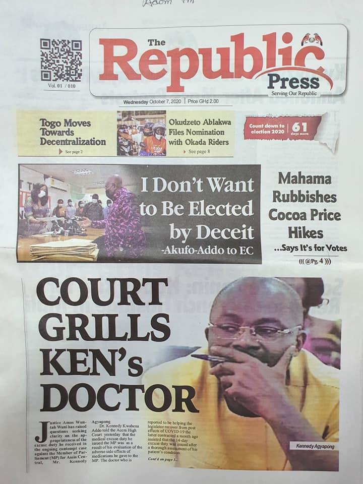 Newspaper headlines of Wednesday, October 7, 2020 62