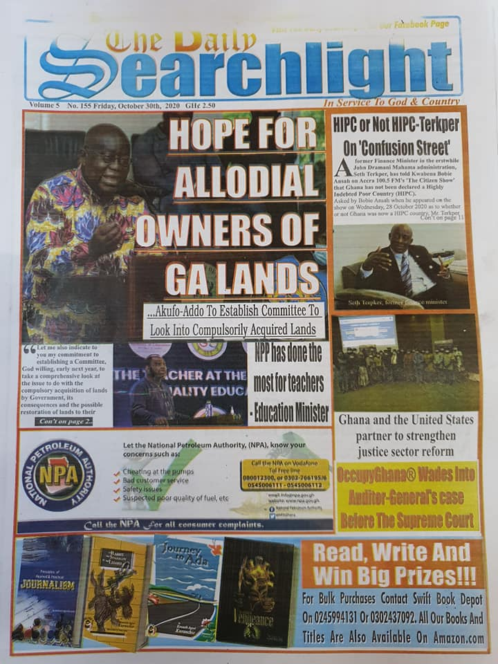 Newspaper headlines of Friday, October 30, 2020 58