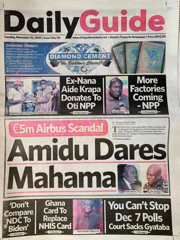 Newspaper headlines of Tuesday, November 10, 2020 28