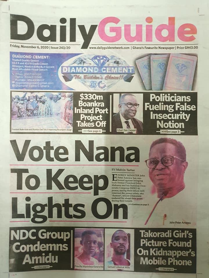 Newspaper headlines of Friday, November 6, 2020 44