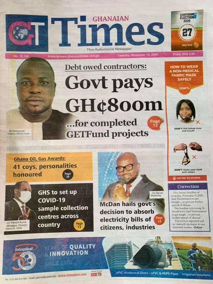 Newspaper headlines of Tuesday, November 10, 2020 29