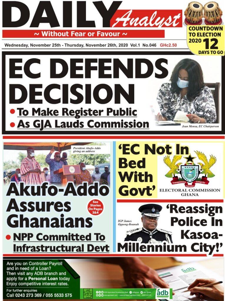 Newspaper headlines of Wednesday, November 25, 2020 44