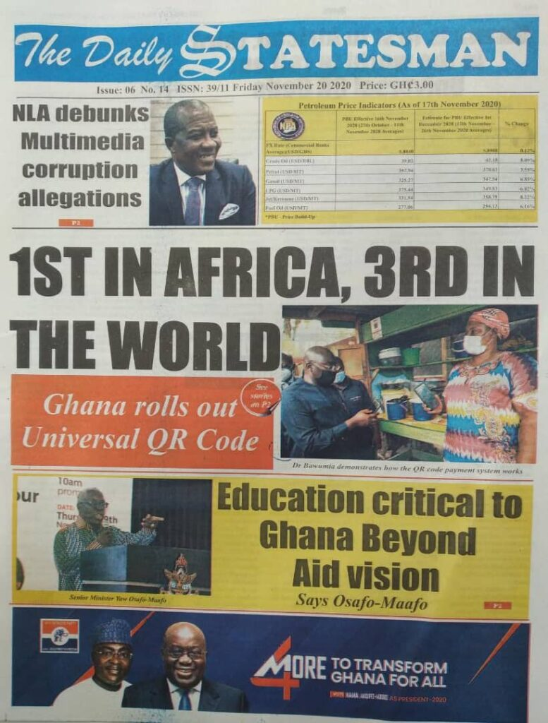 Newspaper headlines of Friday, November 20, 2020 21