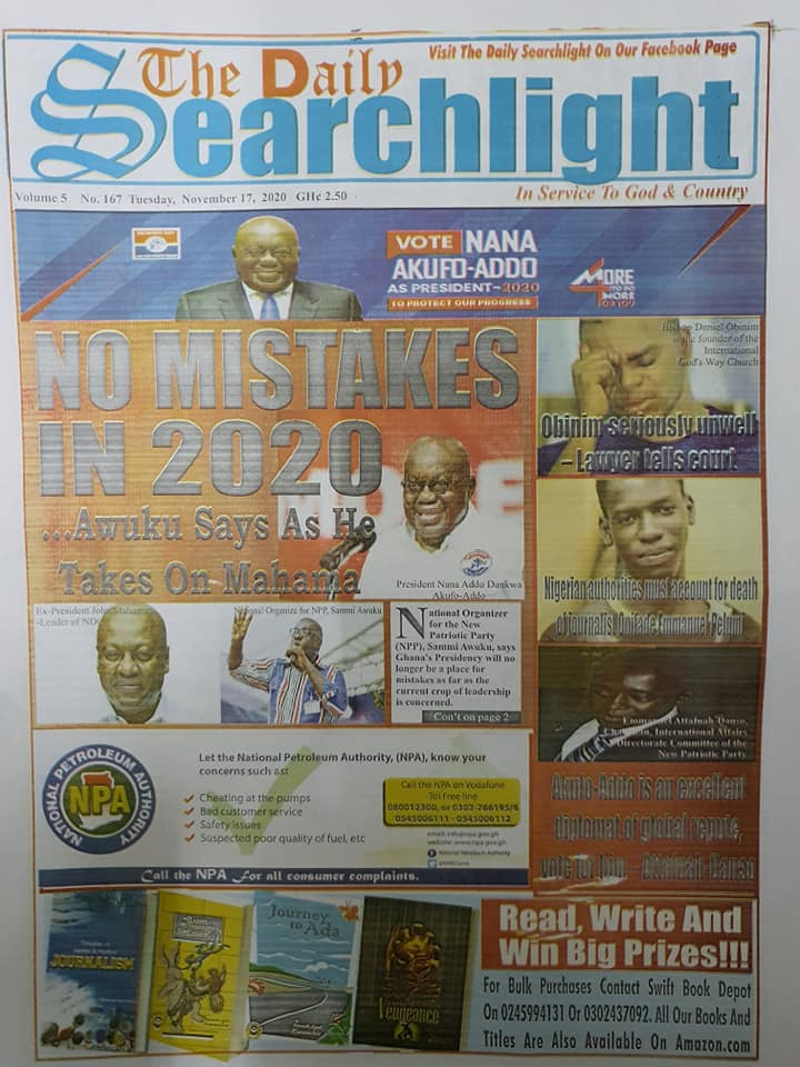 Newspaper headlines of Tuesday, November 17, 2020 43