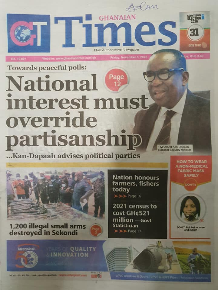 Newspaper headlines of Friday, November 6, 2020 49