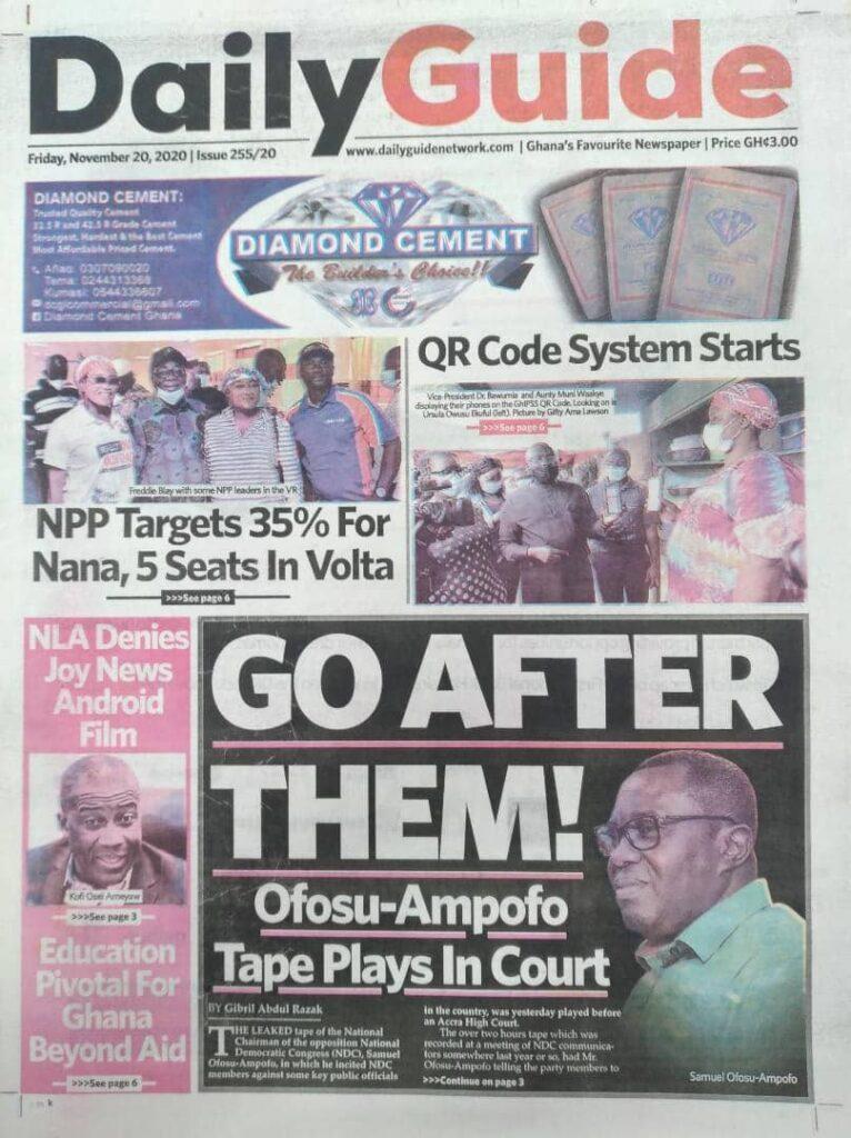 Newspaper headlines of Friday, November 20, 2020 23